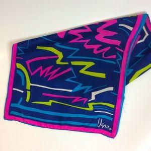 Vera Neumann 80s Bold Print Navy Pink Yellow Scarf